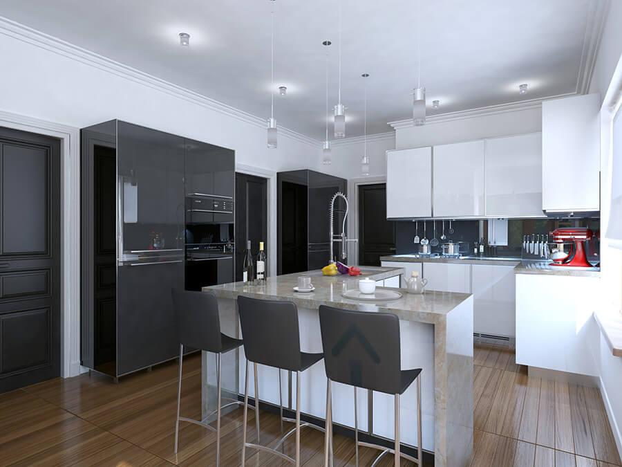 conception de cuisine noir et blanche