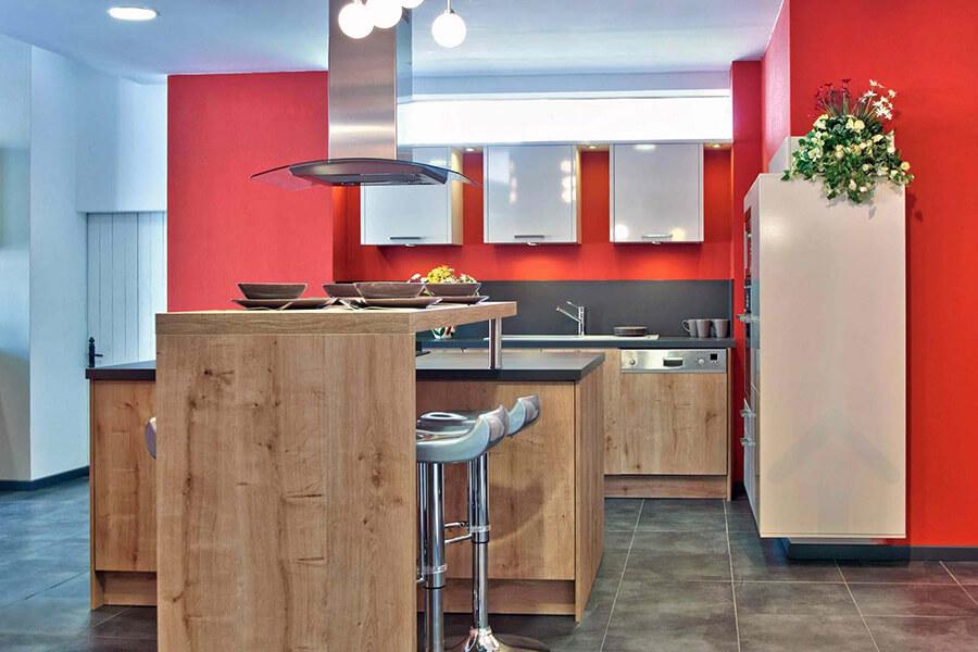 conception de cuisine rouge